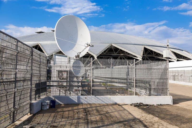 Antena parabólica de la comunicación de espacio imagenes de archivo