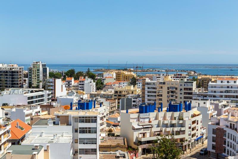 antena Południowy miasto Portugalia Faro widok od wierzchołka fotografia stock