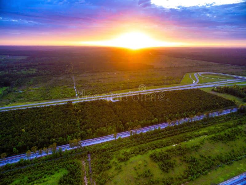 Antena - słońce ustawia nad Alabama zdjęcia royalty free