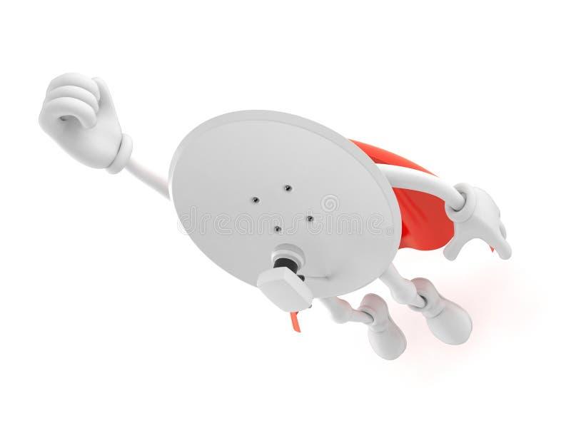 Antena satelitarna charakteru latanie z bohatera przylądkiem ilustracja wektor