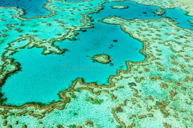 Antena serce rafa, Zimnotrwała laguna w Wielkiej bariery rafie Whitsundays zdjęcia stock