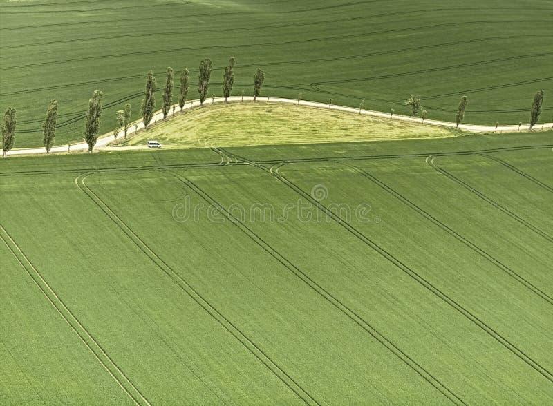 Antena strzał pole z ciągnikiem obdziera i rolniczy sposób obraz stock
