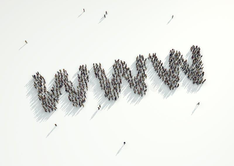 Antena strzał tłum ludzie zbiera tworzyć WWW internet ilustracja wektor