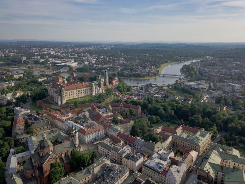 Antena strzelał Krakow Stary miasteczko przy lato czasem zdjęcia stock