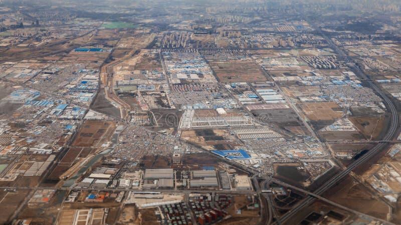 Antena strzelająca strefa przemysłowa w Chiny obrazy royalty free