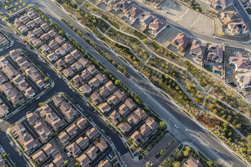Antena suburbana de Porter Ranch Los Angeles California imagem de stock