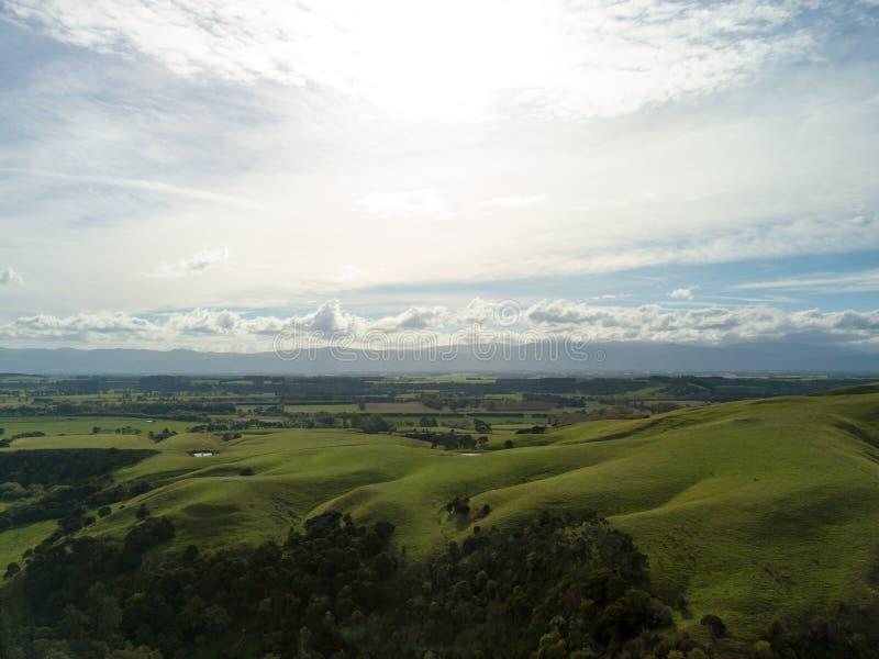 Antena, Toczni wzgórza Nowa Zelandia W jesieni fotografia royalty free