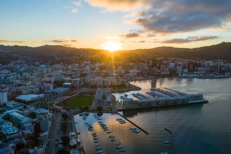 Antena, Wellington New Zealand Sunset imagenes de archivo