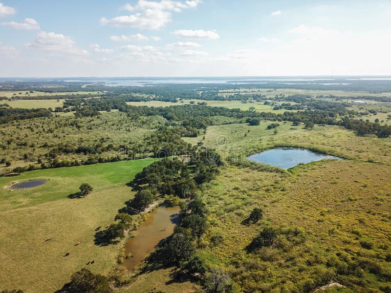 Antena Wiejski Sommervile, Teksas między Austin i Houston obrazy stock