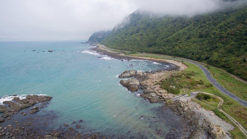 Antena wybrzeże przy Kaikoura Nowa Zelandia fotografia royalty free