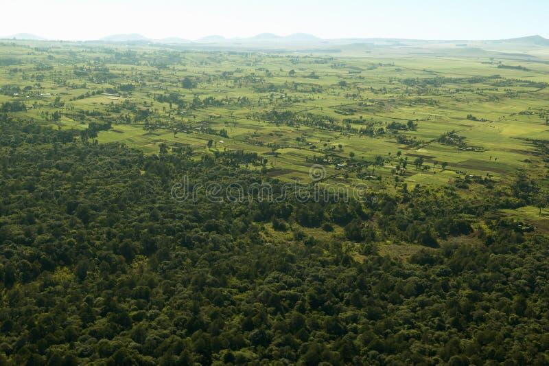 Antenas da tutela de Lewa que mostram a linha de cerca de áreas protegidas e de cultivo da invasão em Kenya, África foto de stock royalty free