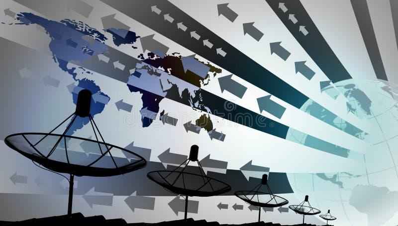Antenas parabólicas no telhado com mundo e efeito gráfico, fundo da tecnologia imagem de stock royalty free