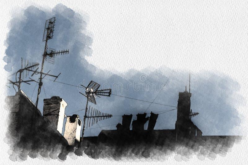 Antenas y chimeneas en los tejados en un pueblo típico ilustración del vector