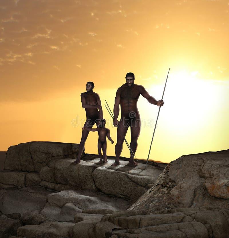 Antenato dell'essere umano di homo erectus royalty illustrazione gratis