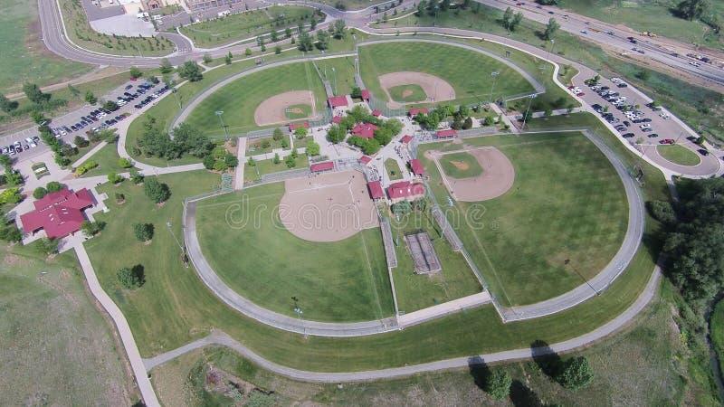 Antenn av baseballfält på sandstenranchen royaltyfria bilder