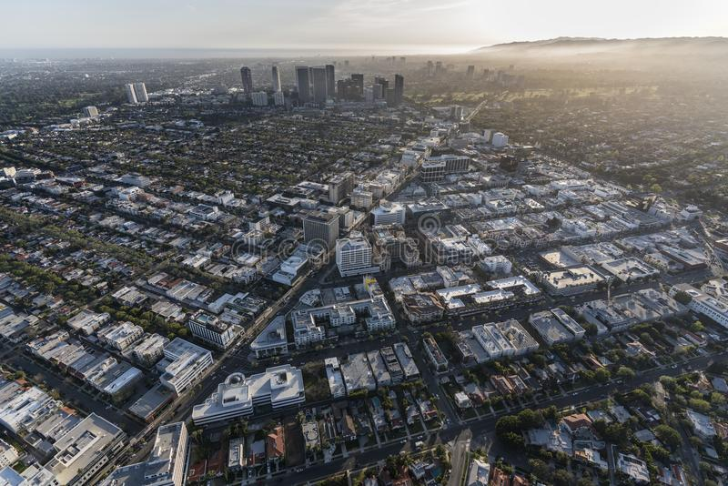 Antenn av Beverly Hills och århundradestaden royaltyfria bilder