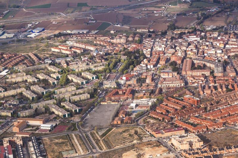 Antenn av bygd och byar runt om madrid royaltyfri fotografi