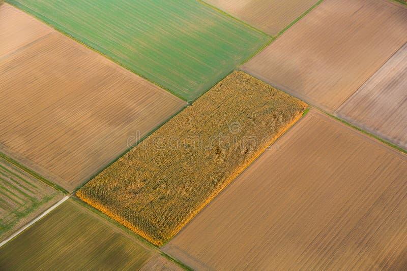 Antenn av det lantliga landskapet med odlingsmark nära Frankfurt - f.m. - strömförsörjning arkivbilder