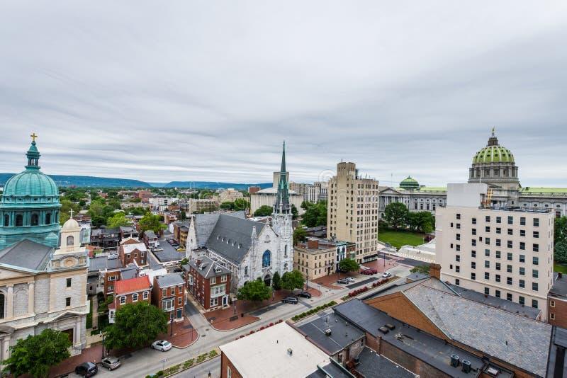 Antenn av historiska i stadens centrum Harrisburg, Pennsylvania bredvid royaltyfri foto