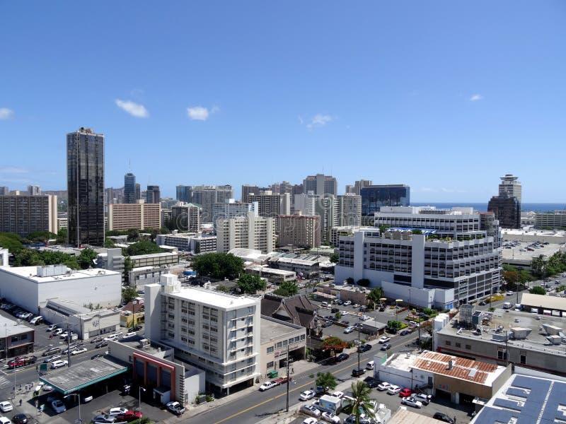 Antenn av Honolulu alunMoana omr?de royaltyfri foto