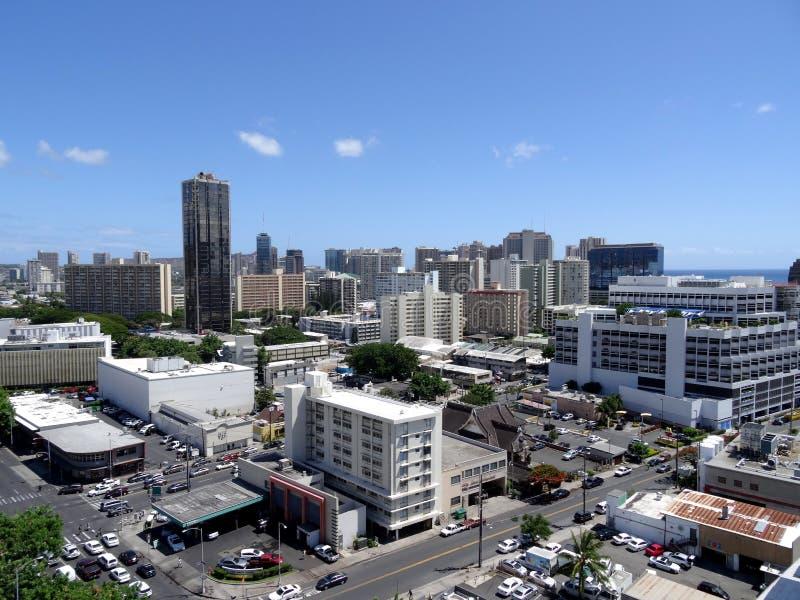 Antenn av Honolulu alunMoana omr?de arkivfoton