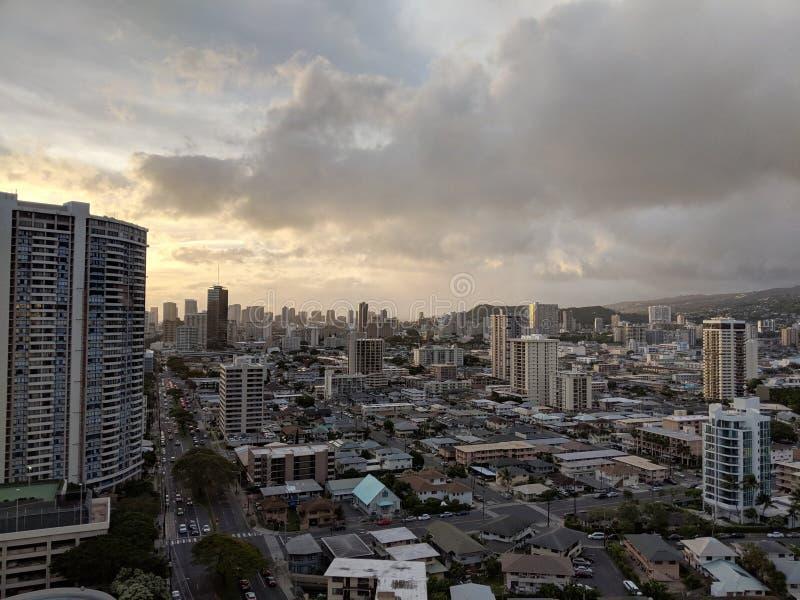 Antenn av Honolulu Cityscape royaltyfria foton
