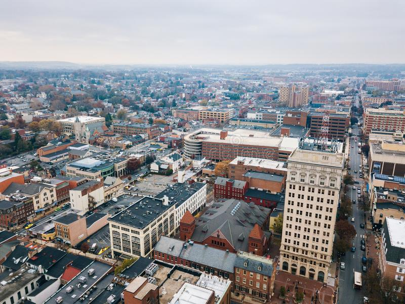 Antenn av i stadens centrum Lancaster, Pennsylvania areound centralen M arkivfoton