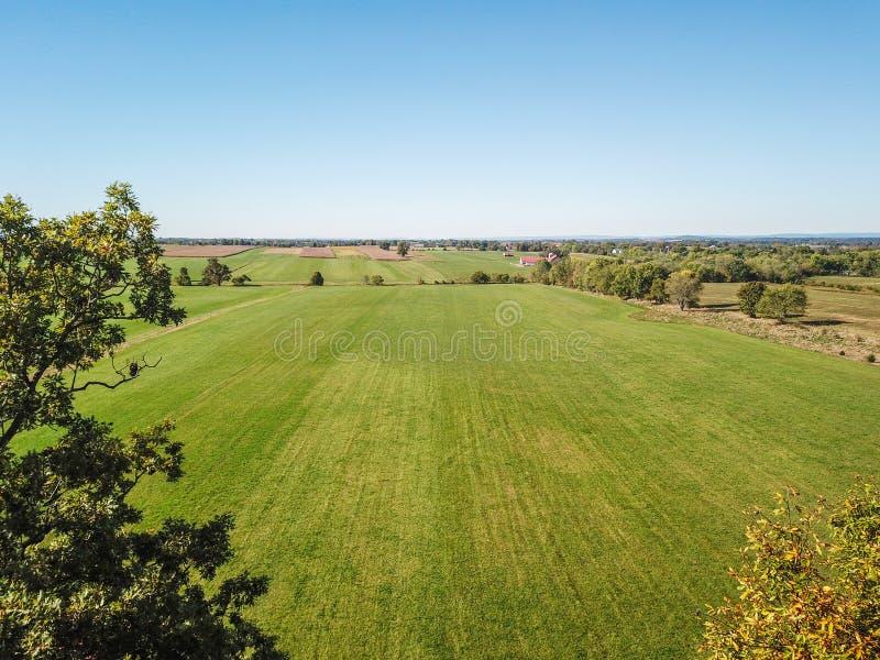 Antenn av jordbruksmark i Dover, Pennsylvania precis söder av Harrisbu royaltyfria bilder