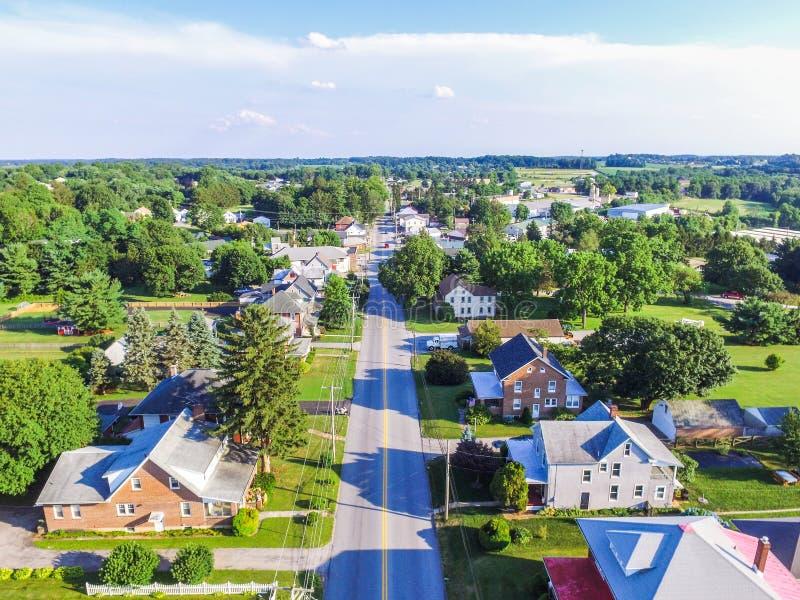 Antenn av Main Street område i Shrewsbury, Pennsylvania arkivbild