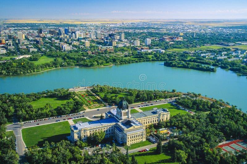 Antenn av Manitoba lagstiftnings- byggnad, Winnipeg, Manitoba, Kanada arkivbilder