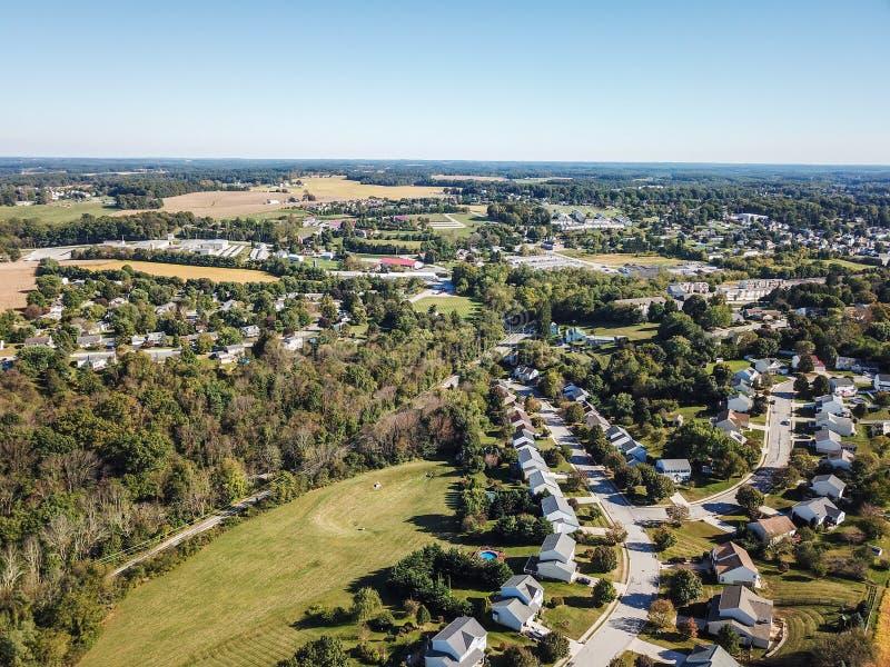Antenn av ny frihet och omgeende jordbruksmark i sydliga Penns royaltyfria foton