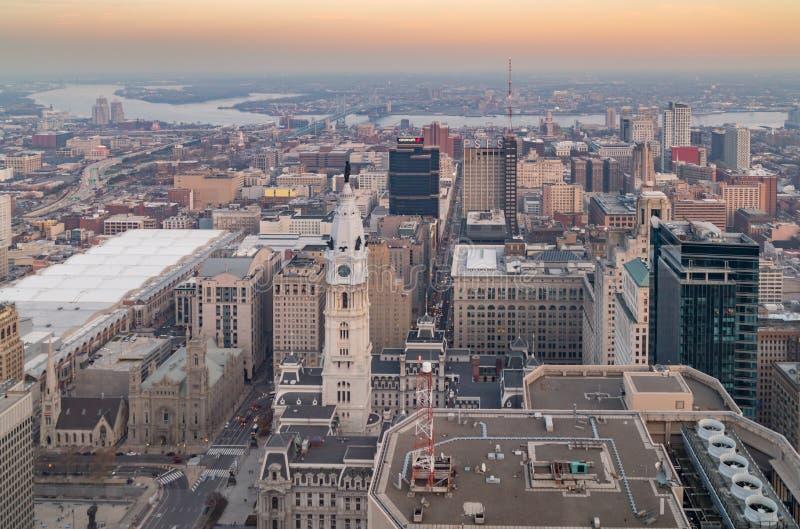 Antenn av Philadelphia horisont royaltyfri fotografi