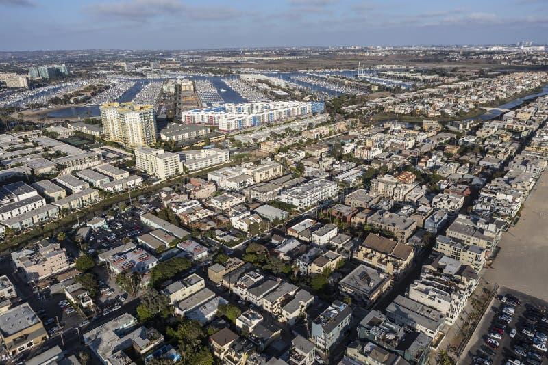 Antenn av Venedig och Marina Del Rey i Los Angeles royaltyfri foto