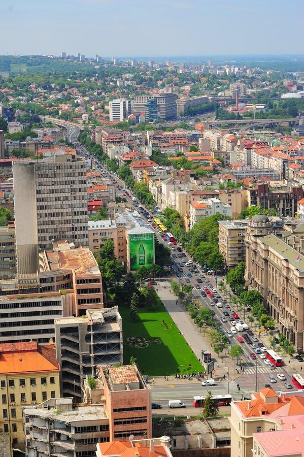 Antenn och panoramasikt på den södra delen av Belgrade arkivbilder