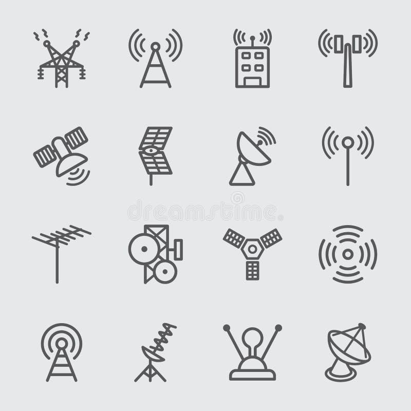 Antenn och satellit- linje symbol stock illustrationer