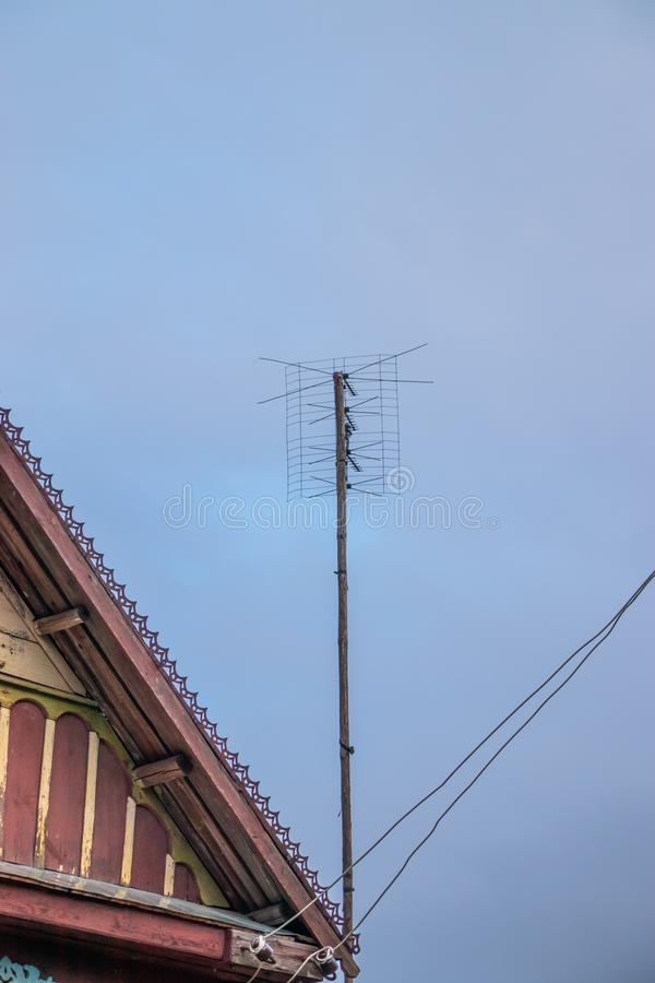 Antenna analog on the mast for receiving a radio signal stock images