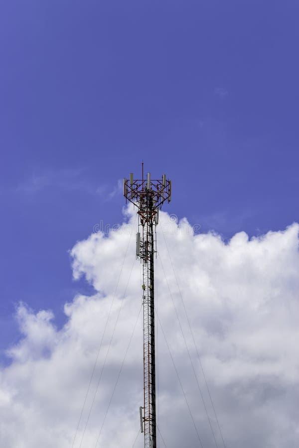 Antenna on blue sky background. Telecommunication signal. Telecommunication pattern. Telecommunication. Single antenna telecommunication on blue sky background royalty free stock photography