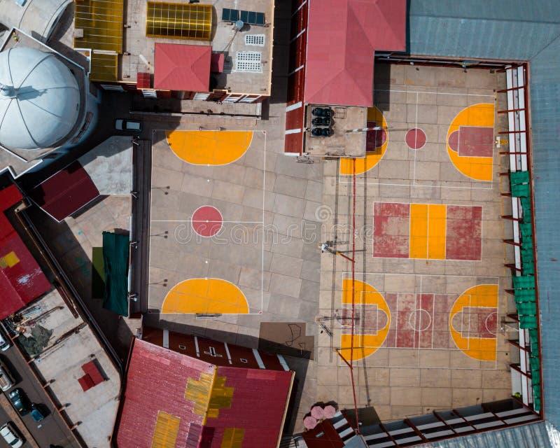 Antenna dei campi da pallacanestro fotografia stock libera da diritti