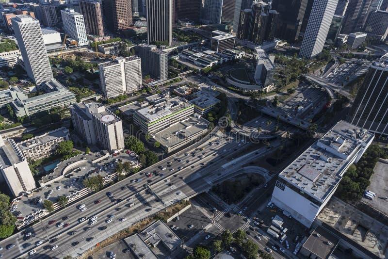 Antenna del centro dell'autostrada senza pedaggio del porto 110 di Los Angeles immagine stock