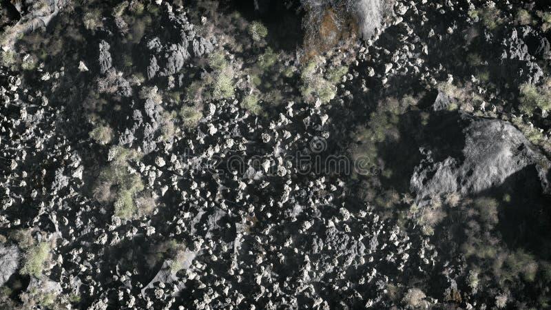 Antenna del paesaggio grigio della montagna della roccia con vegetazione asciutta fotografia stock