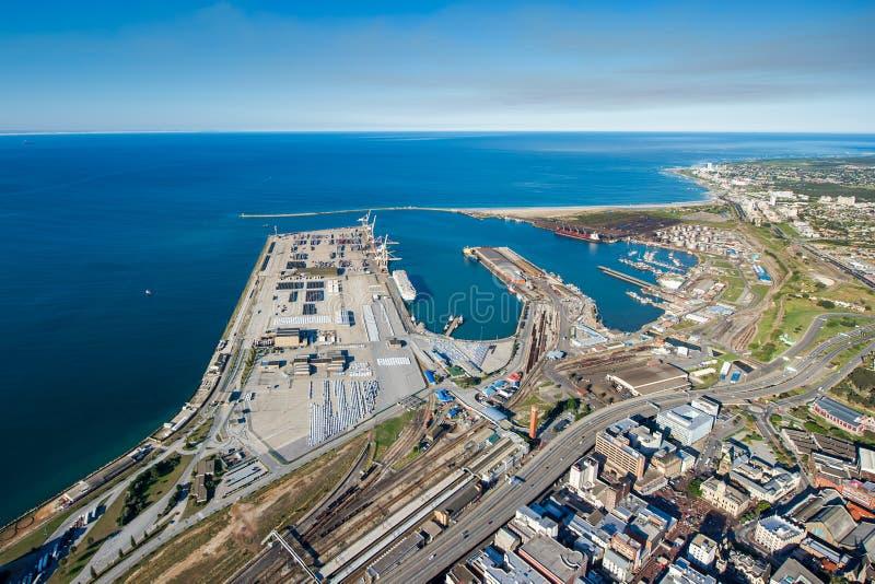 Antenna del porto Sudafrica di Port Elizabeth fotografia stock