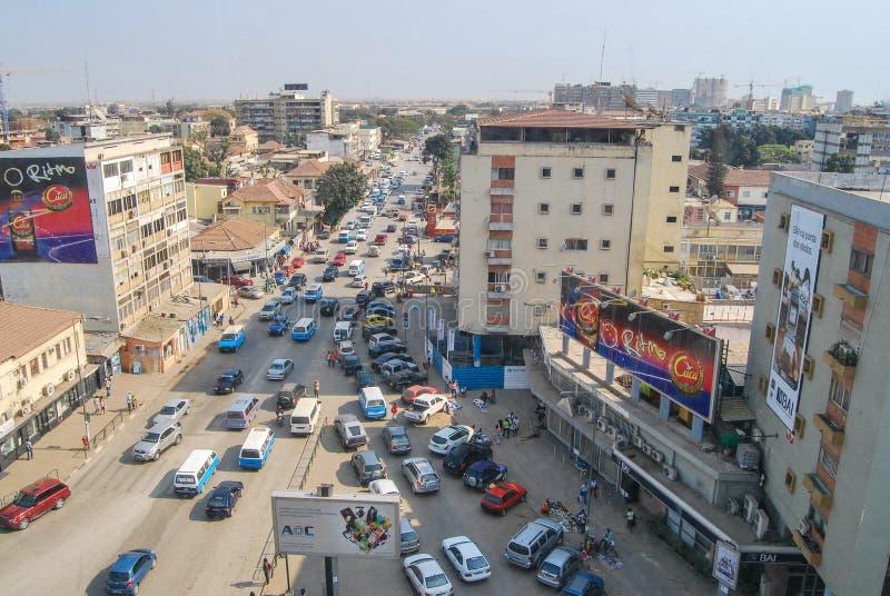 Antenna delle strade affollate di Luanda della capitale dell'Angola immagini stock libere da diritti