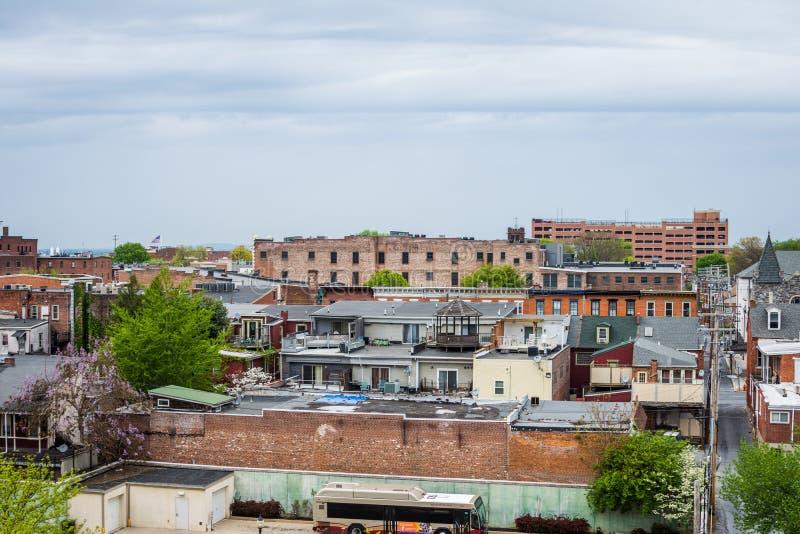 Antenna di Lancaster del centro storico, Pensilvania con il bloomin fotografie stock