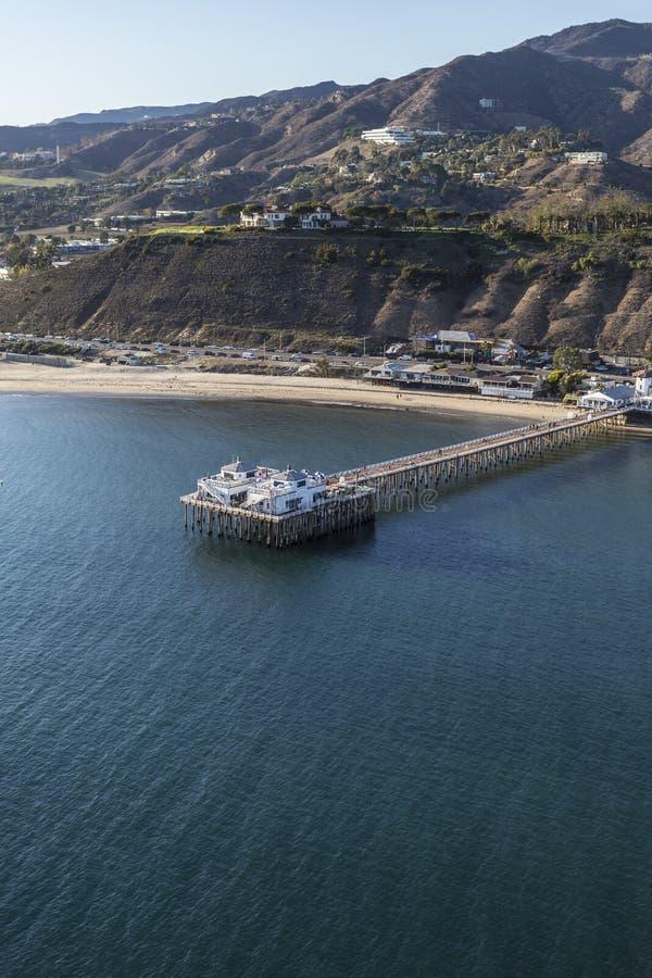 Antenna di Malibu Pier Near Los Angeles in California del sud fotografie stock libere da diritti