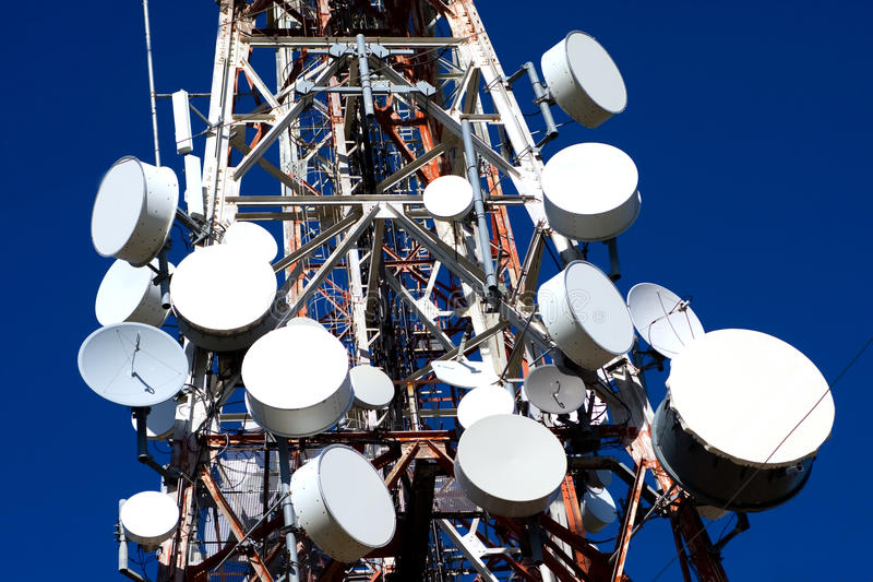 Antenna Drums on Mobile Phone Mast stock images