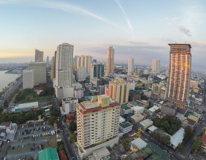 Antenna: Fuco sparato della baia di Manila fotografia stock libera da diritti
