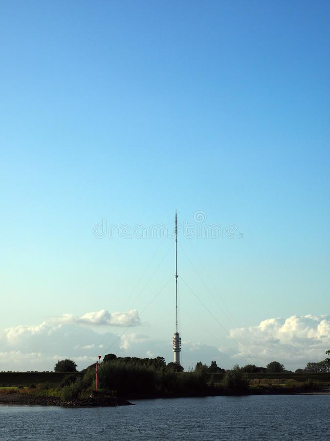 Transmission tower in IJsselstein, the Netherlands. Antenna Gerbrandytower called Zendmast Lopik on the Netherlands royalty free stock images