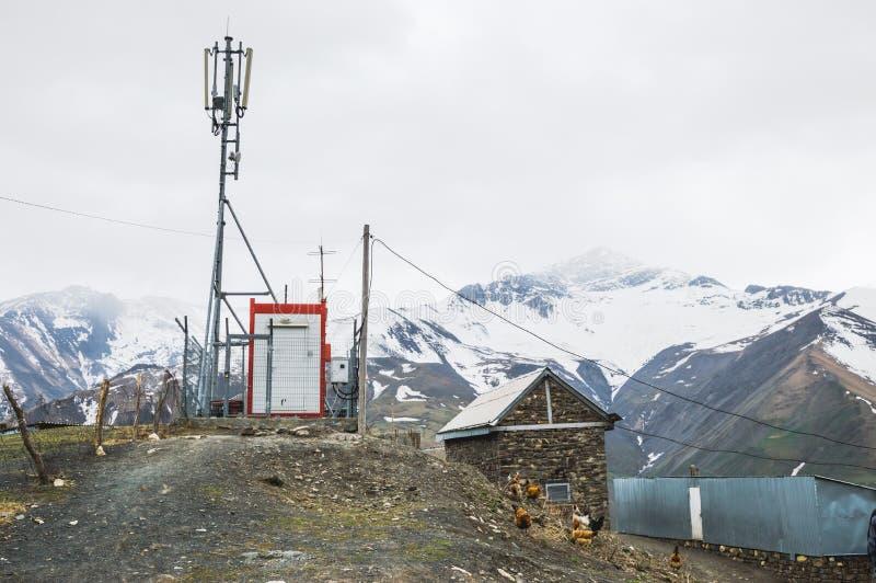 Antenna for mobile communication in mountain village. Khinalig, Azerbaijan stock images