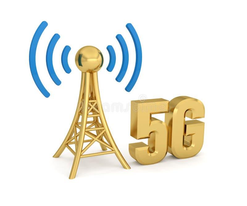 Antenna network 5G wireless. Transmission 3D vector illustration