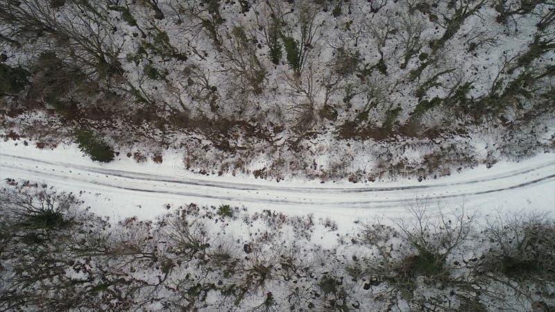 Antenna per la foresta coperta di neve e di strada di inverno, vista di occhio di uccello colpo Vista superiore della strada camp immagine stock libera da diritti